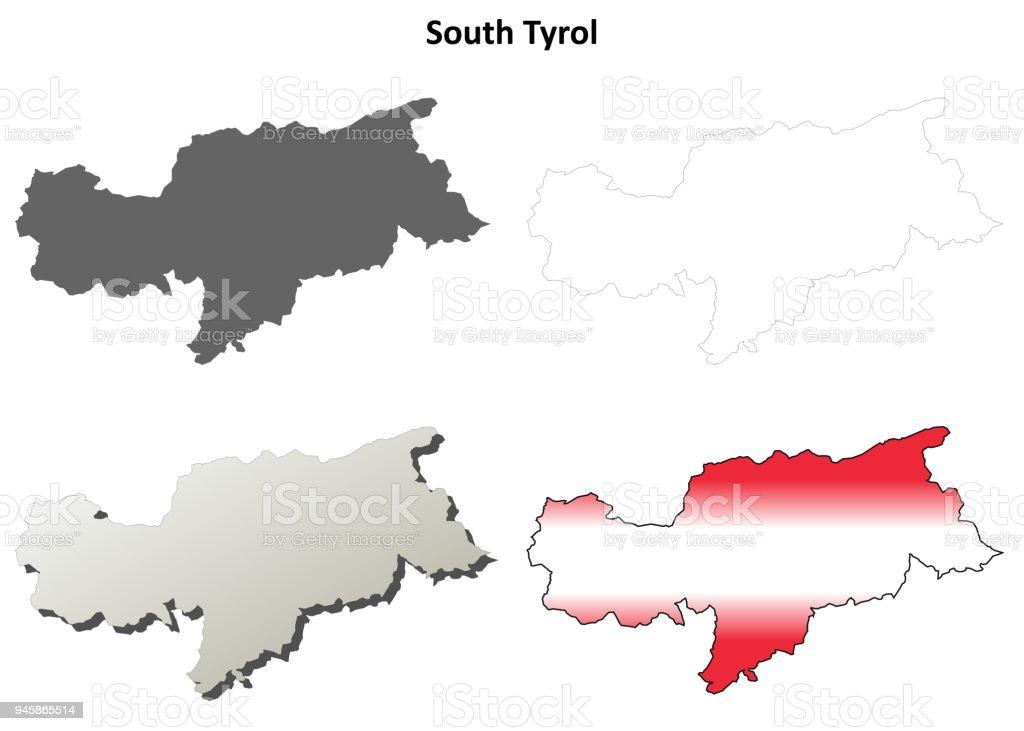 Sudtirol Karte Osterreich Italien.Sudtirol Umriss Karte Set Osterreichische Version Stock