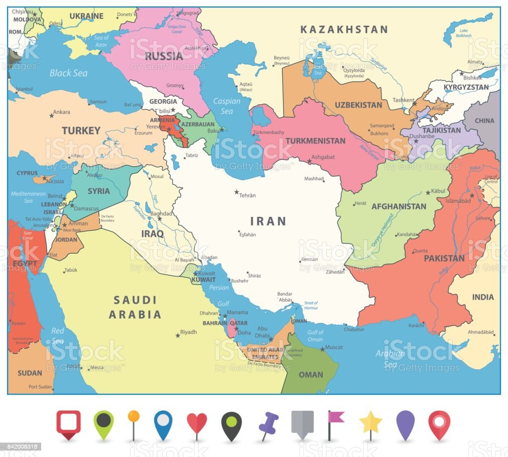 South West Asia Map And Flat Map Markers Stock Vector Art More