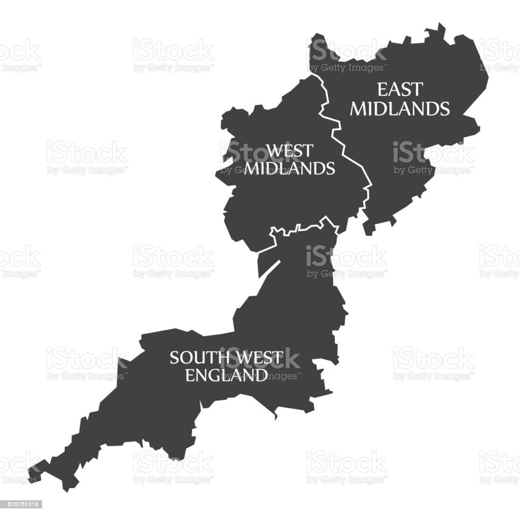 south west england west midlands east midlands map uk illustration royalty free south