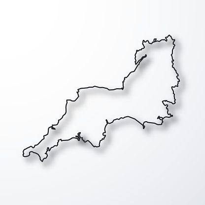 South West map - Black outline with shadow on white background