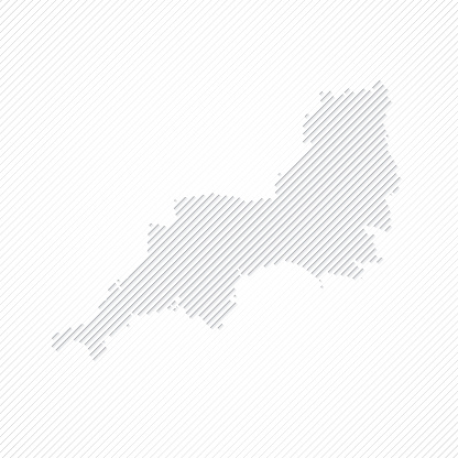 South West map designed with lines on white background