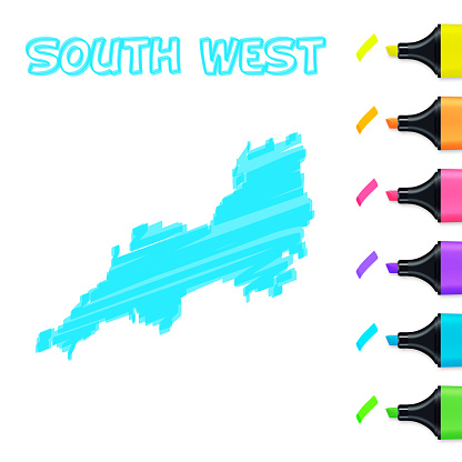 South West map hand drawn with blue highlighter on white background