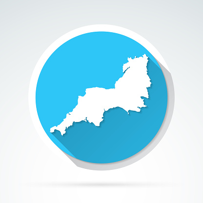 South West map icon - Flat Design with Long Shadow