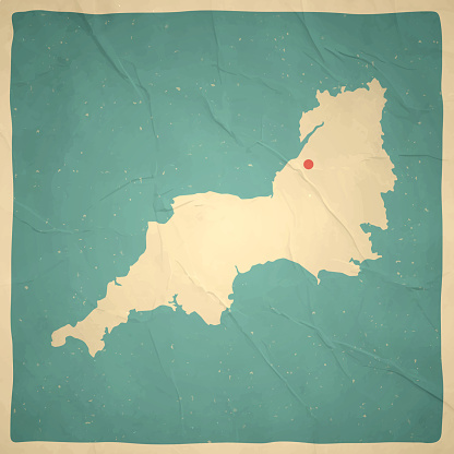 South West map in retro vintage style - Old textured paper