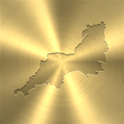 South West map on gold background - Circular brushed metal texture