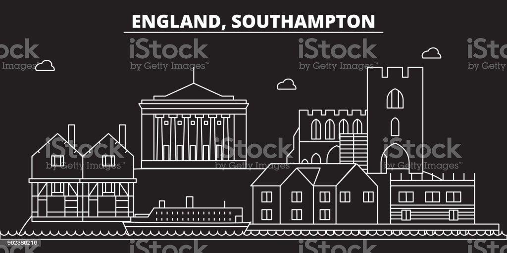Southampton silhouette skyline. Great Britain - Southampton vector city, british linear architecture. Southampton travel illustration, outline landmarks. Great Britain flat icon, british line banner vector art illustration