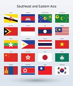 Southeast and Eastern Asia Flags Collection