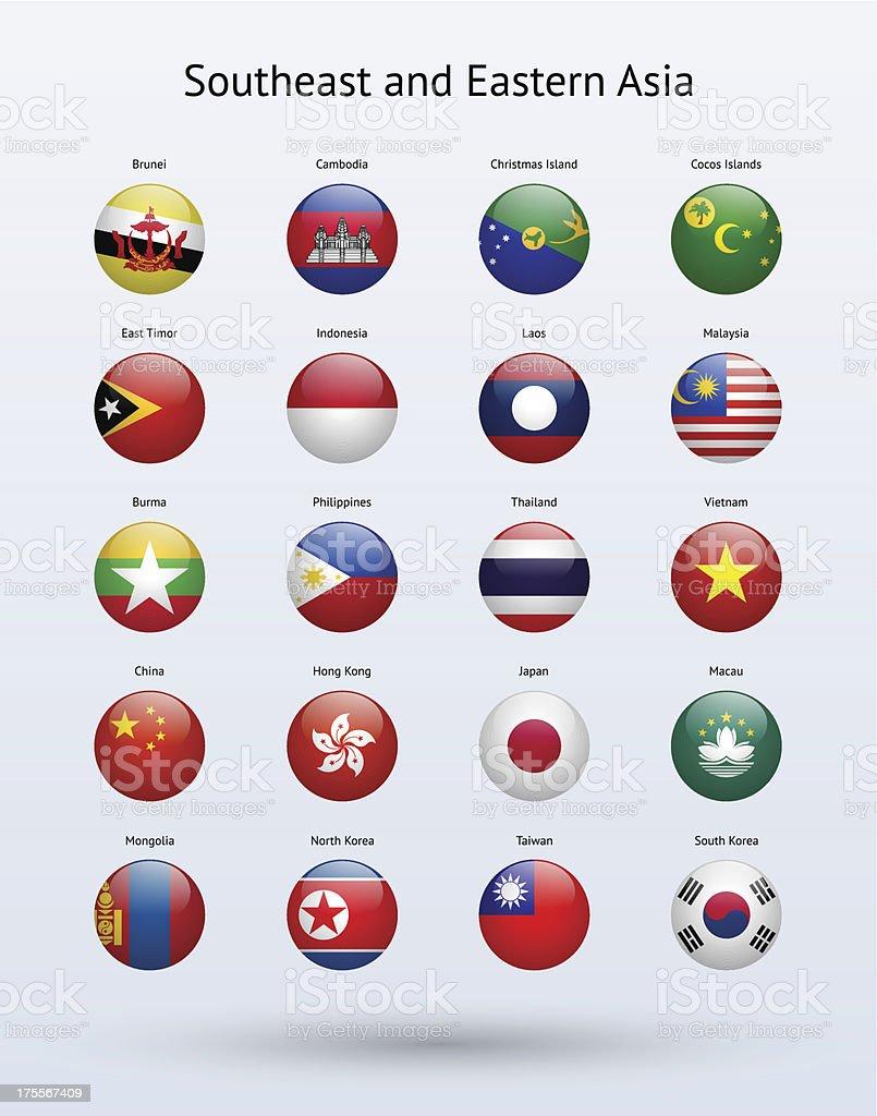 Sudeste da Ásia, e Oriente todo Flags Collection - ilustração de arte em vetor
