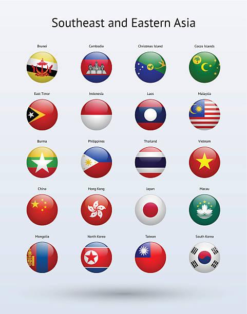 南東アジアと東洋のラウンド旗コレクション - 台湾点のイラスト素材/クリップアート素材/マンガ素材/アイコン素材