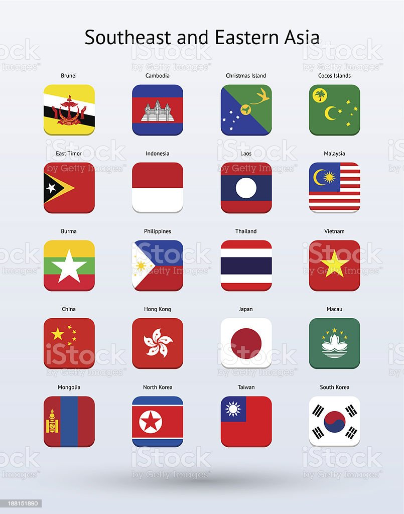Southeast and Eastern Asia Square Icons Flags Collection royalty-free stock vector art