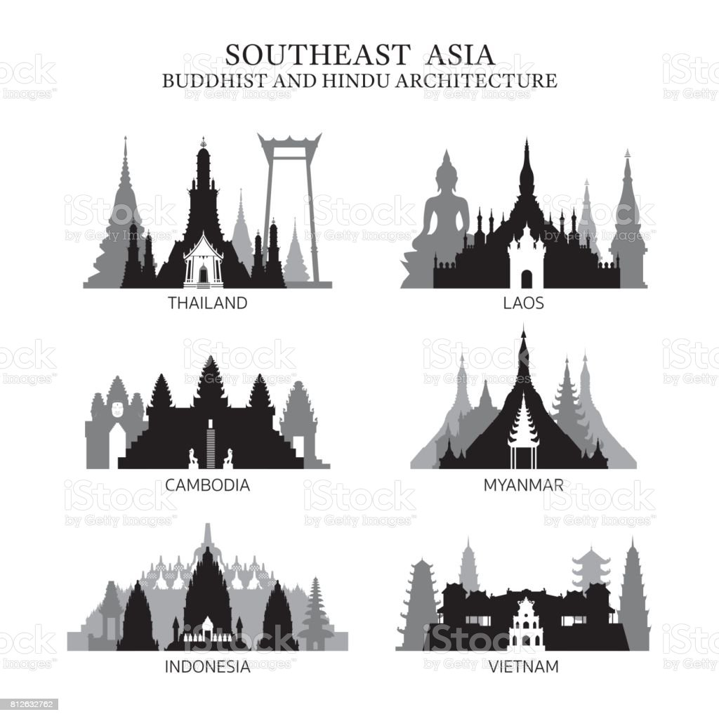Southeast Asia Buddhist and Hinduism Architecture vector art illustration
