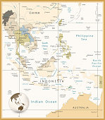 Southeast Asia Detailed Map Retro Colors