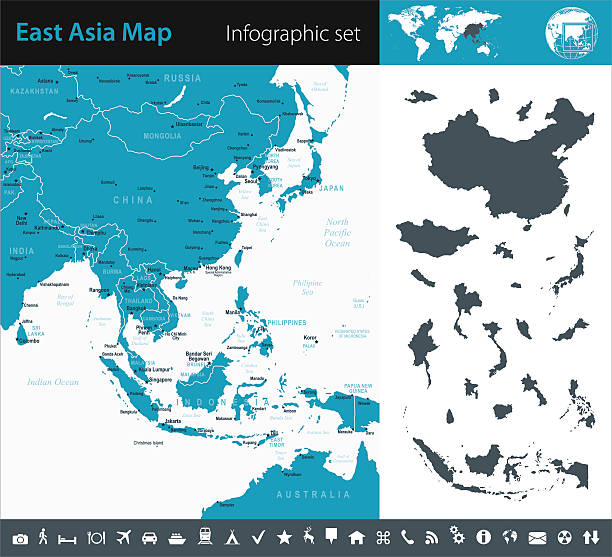 東南アジア-インフォグラフィックマップ-イラストレーション - アジア地図点のイラスト素材/クリップアート素材/マンガ素材/アイコン素材