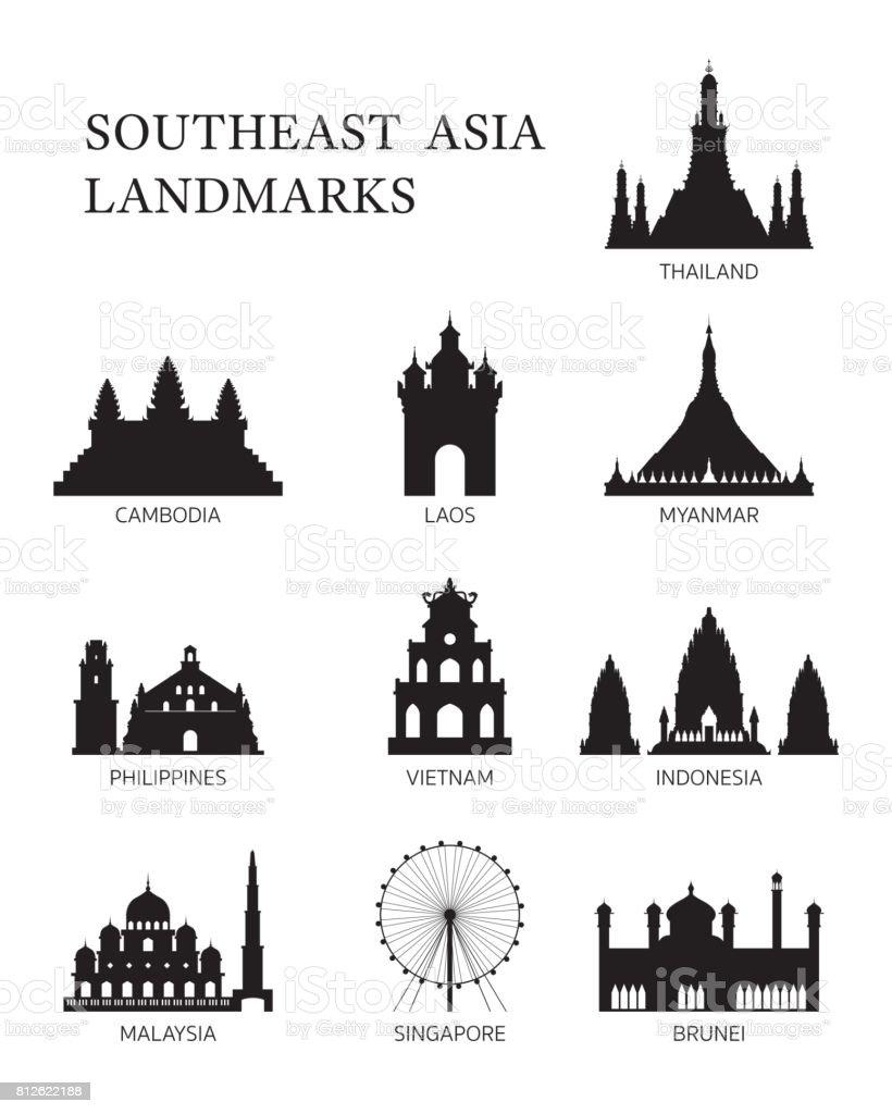 ASEAN, Southeast Asia Landmark Silhouette Set vector art illustration