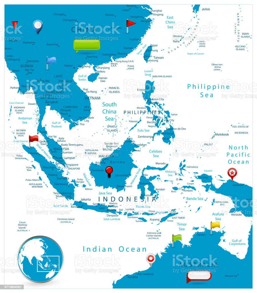 southeast asia map and glossy icons on map royalty free southeast asia map and glossy
