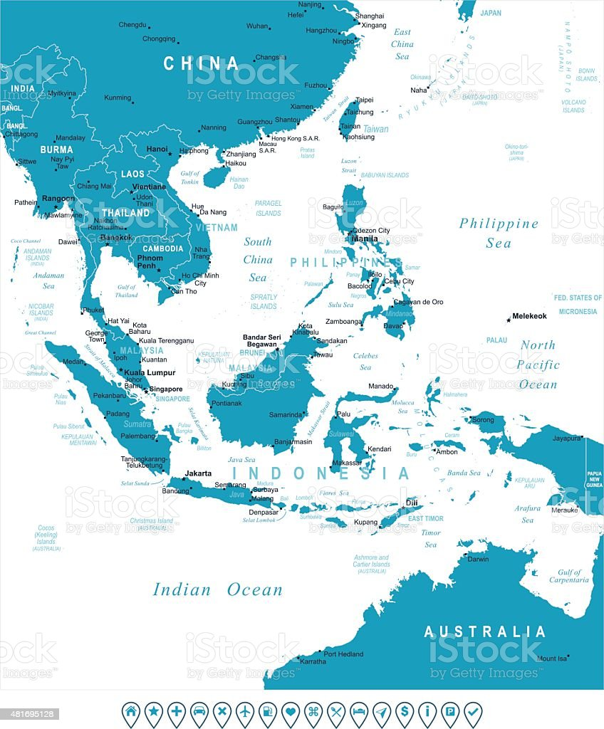 southeast asia map and navigation labels illustration royalty free southeast asia map and