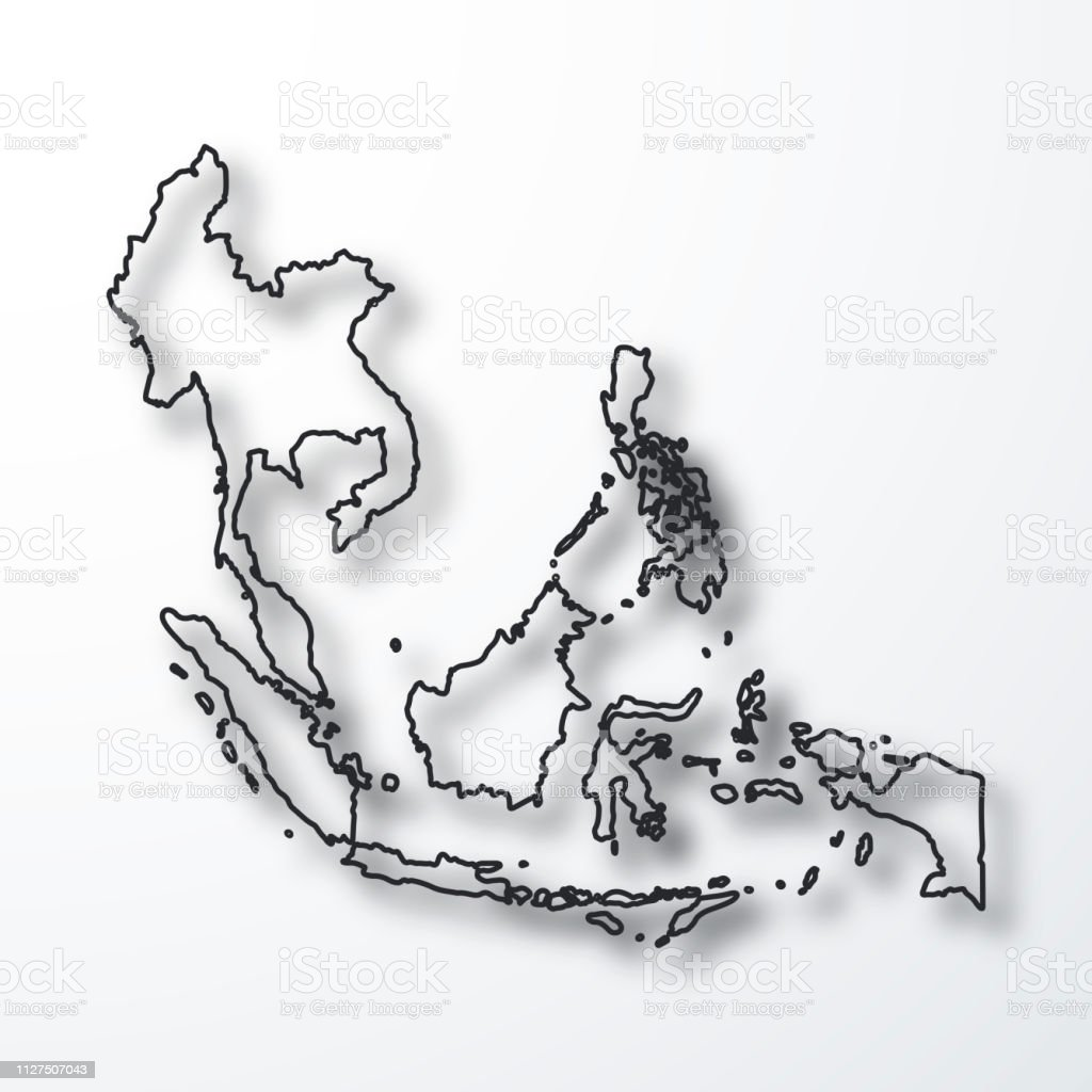 Southeast Asia Map Black Outline With Shadow On White Background