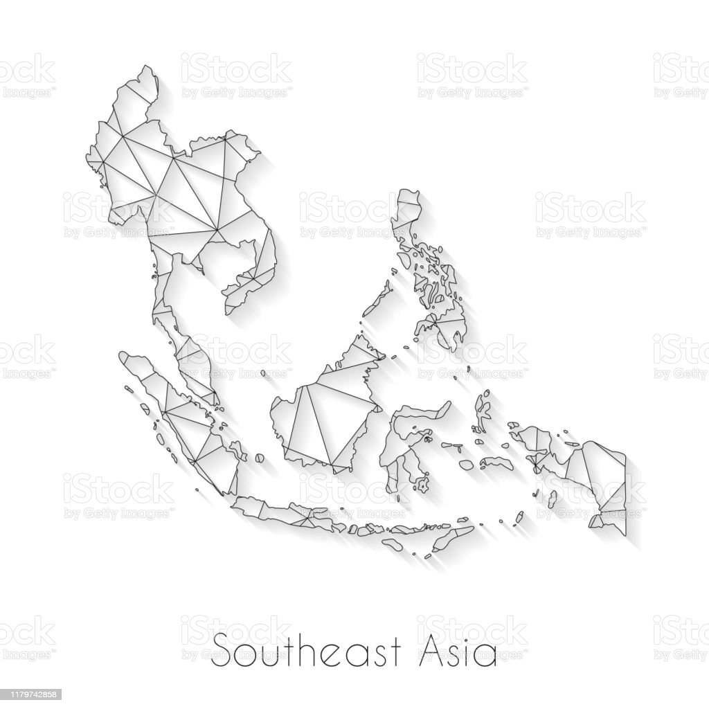 Image of: Southeast Asia Map Connection Network Mesh On White Background Stock Illustration Download Image Now Istock