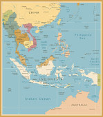 southeast asia map detailed vintage colors