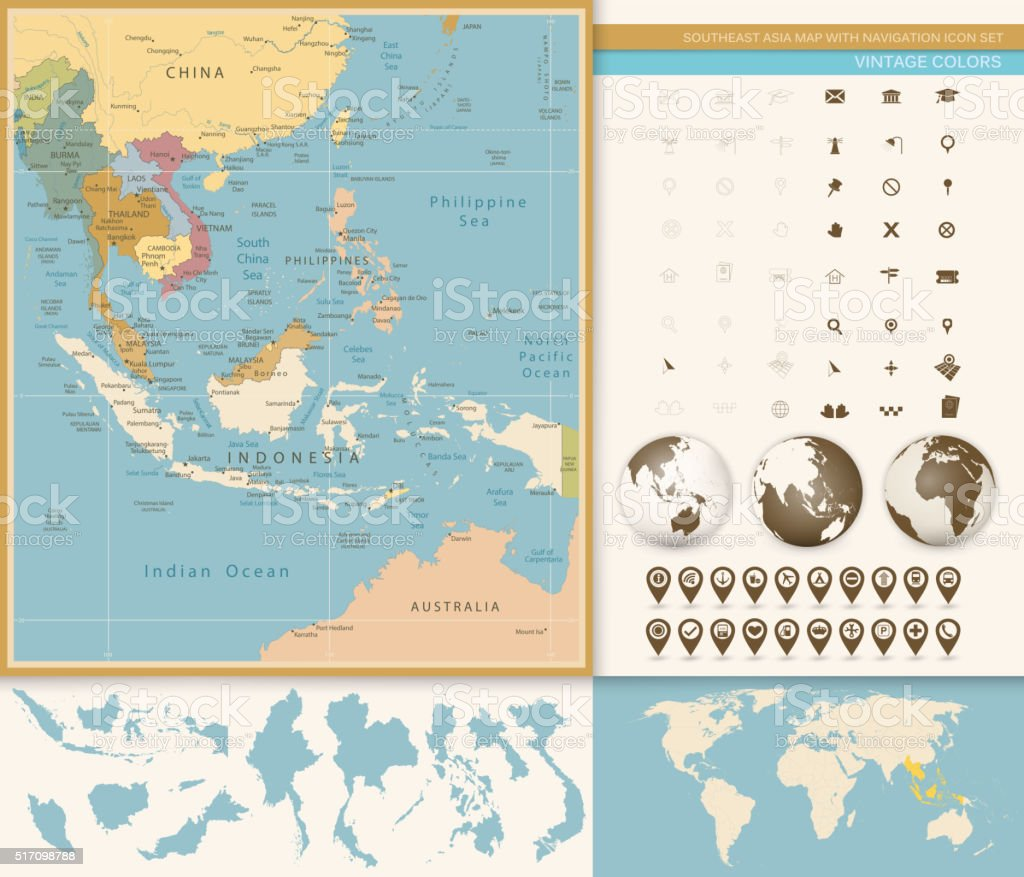 southeast asia map detailed with navigation icon set vintage co royalty free southeast asia