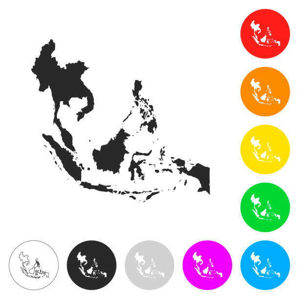 southeast asia map - flat icons on different color buttons - azja południowo wschodnia stock illustrations