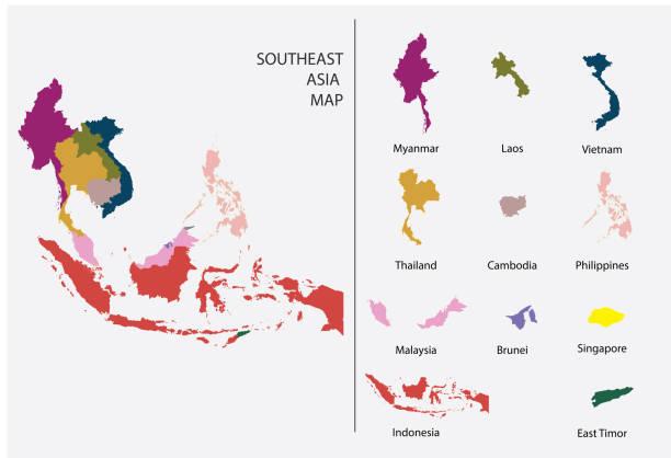 stockillustraties, clipart, cartoons en iconen met zuidoost-azië kaart grafische vector-gescheiden geïsoleerde landkaart voorontwerp werk - myanmar