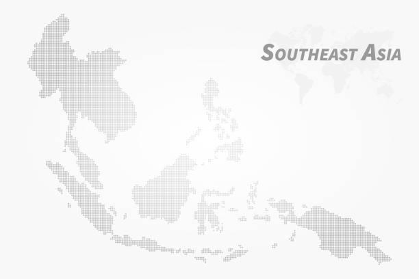 Southeast asia map . High detail dot design  . Vector vector art illustration