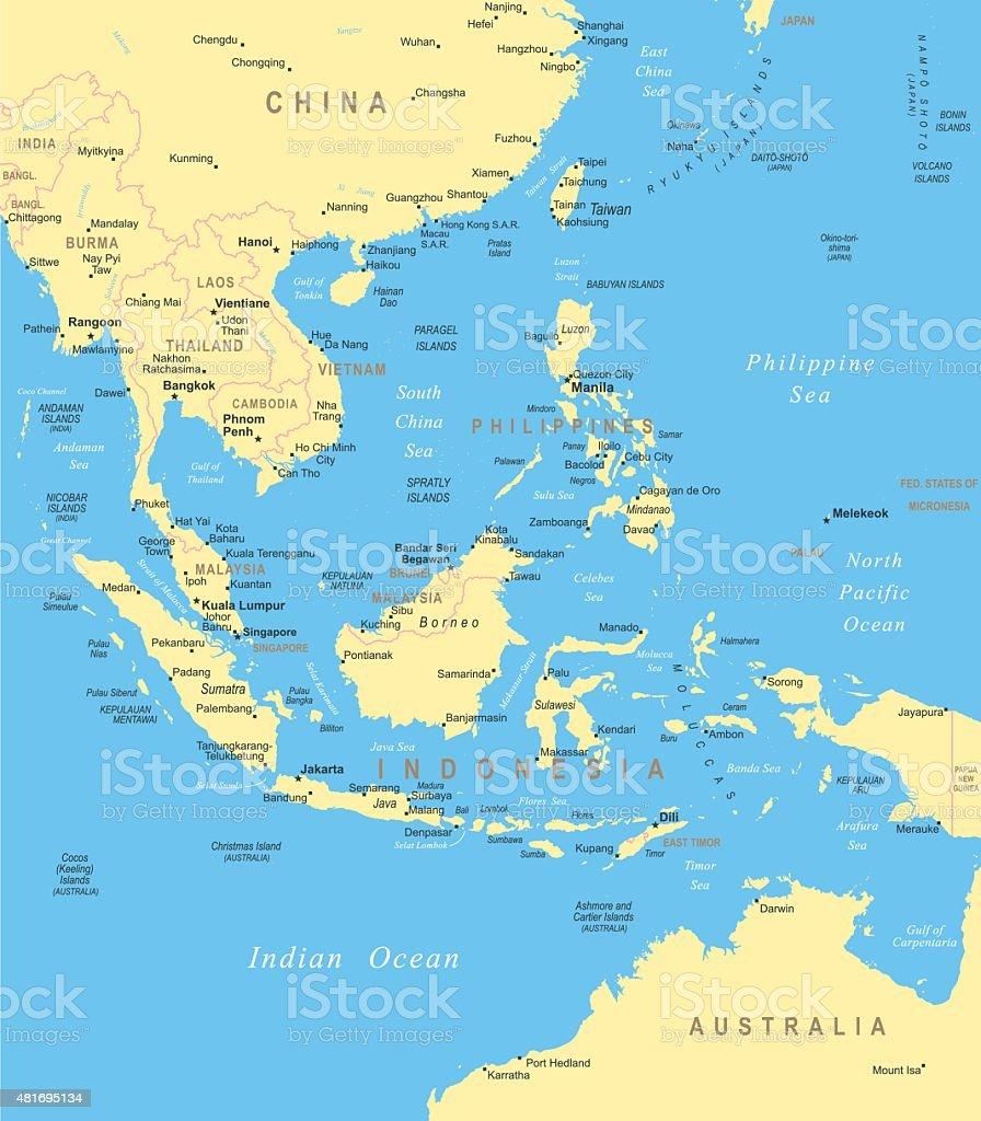 Southeast Asia - map - illustration vector art illustration