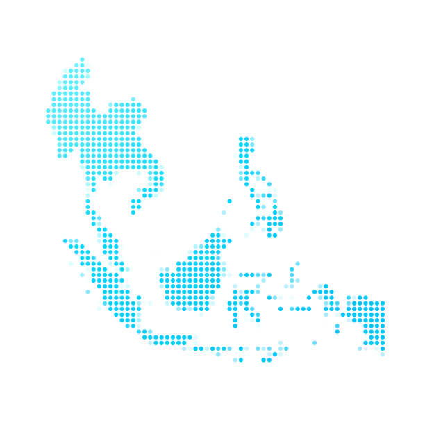southeast asia map of blue dots on white background - azja południowo wschodnia stock illustrations