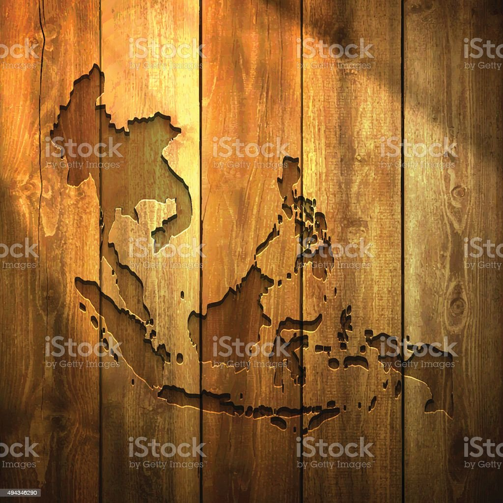 Southeast Asia Map On Lit Wooden Background Stock Vector Art More - Lit design 2015