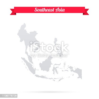 Map of Southeast Asia isolated on a blank background and with his name on a red ribbon. Vector Illustration (EPS10, well layered and grouped). Easy to edit, manipulate, resize or colorize. Please do not hesitate to contact me if you have any questions, or need to customise the illustration. http://www.istockphoto.com/portfolio/bgblue