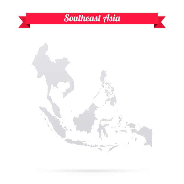 southeast asia map on white background with red banner - azja południowo wschodnia stock illustrations
