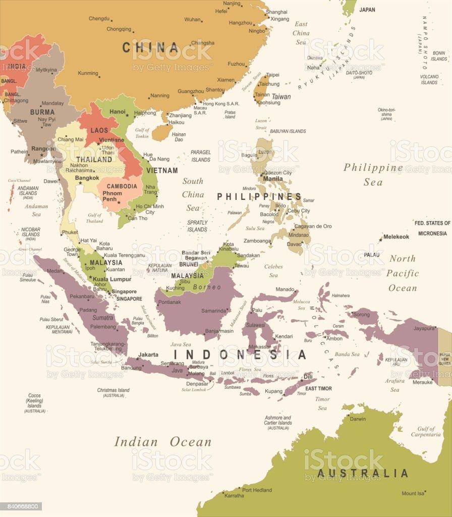 Landkarte Asien.Sudostasien Landkarte Vintage Vektorillustration Stock Vektor Art Und Mehr Bilder Von Alt