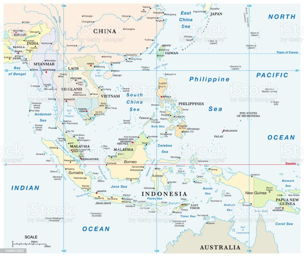 Southeast Asia Map With Coordinates And Scale Stock ...