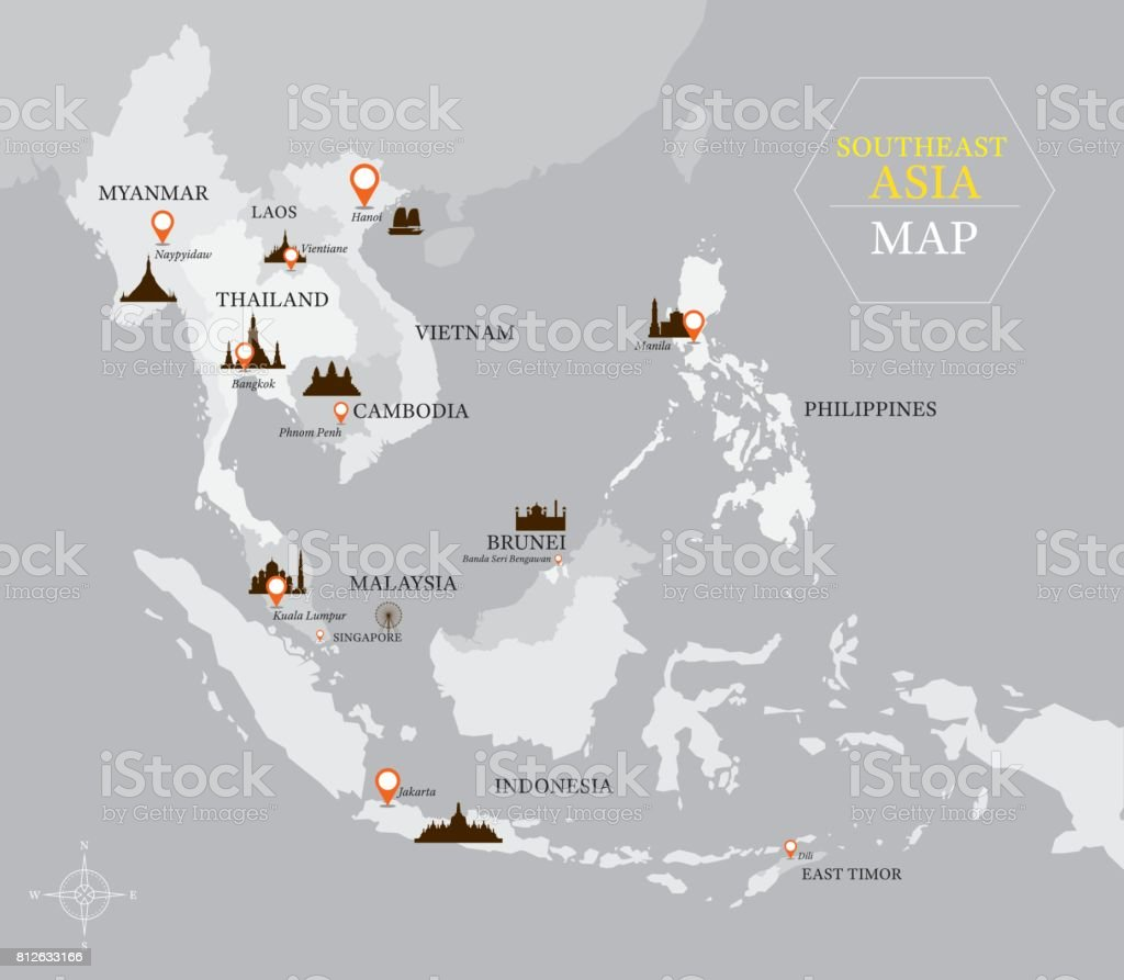 Southeast Asia Map With Country And Capital Location Stock Vector