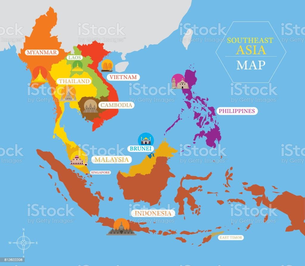 Southeast Asia Map With Country Icons And Location Stock Vector Art ...
