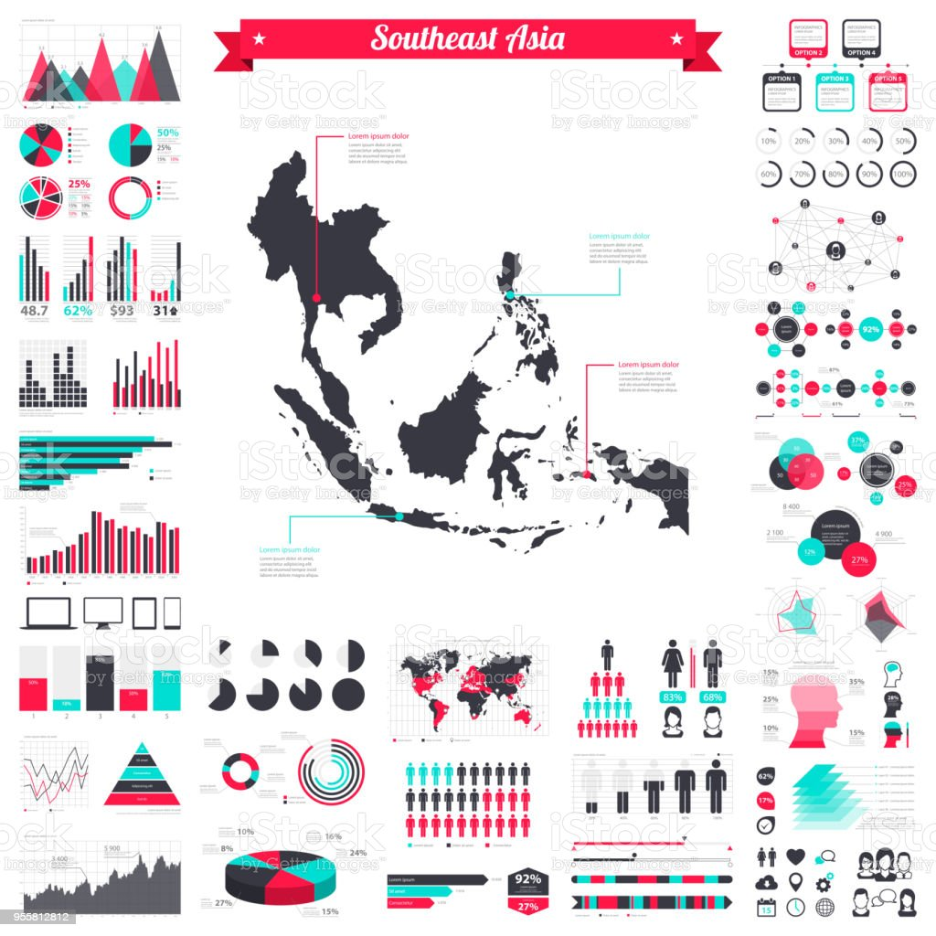 southeast asia map with infographic elements big creative graphic set royalty free southeast asia