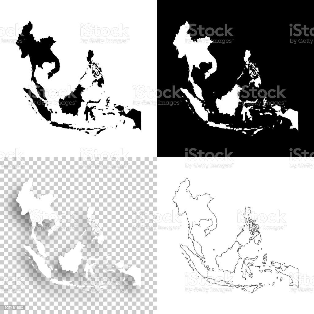 Southeast Asia Maps For Design Blank White And Black Backgrounds ...