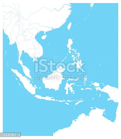 Southeast Asia Outline Map. Vector illustration.