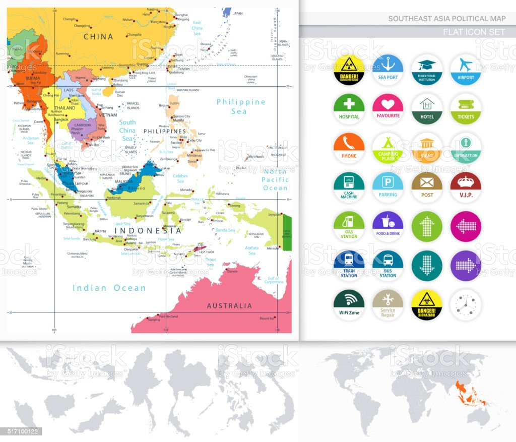 southeast asia political map and flat icon set royalty free southeast asia political map and