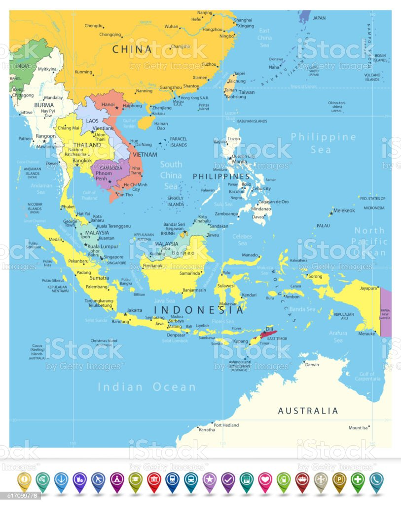 Southeast Asia Political Map And Navigation Icons Stock ...