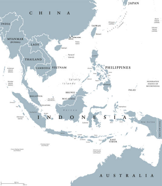 Southeast Asia political map vector art illustration