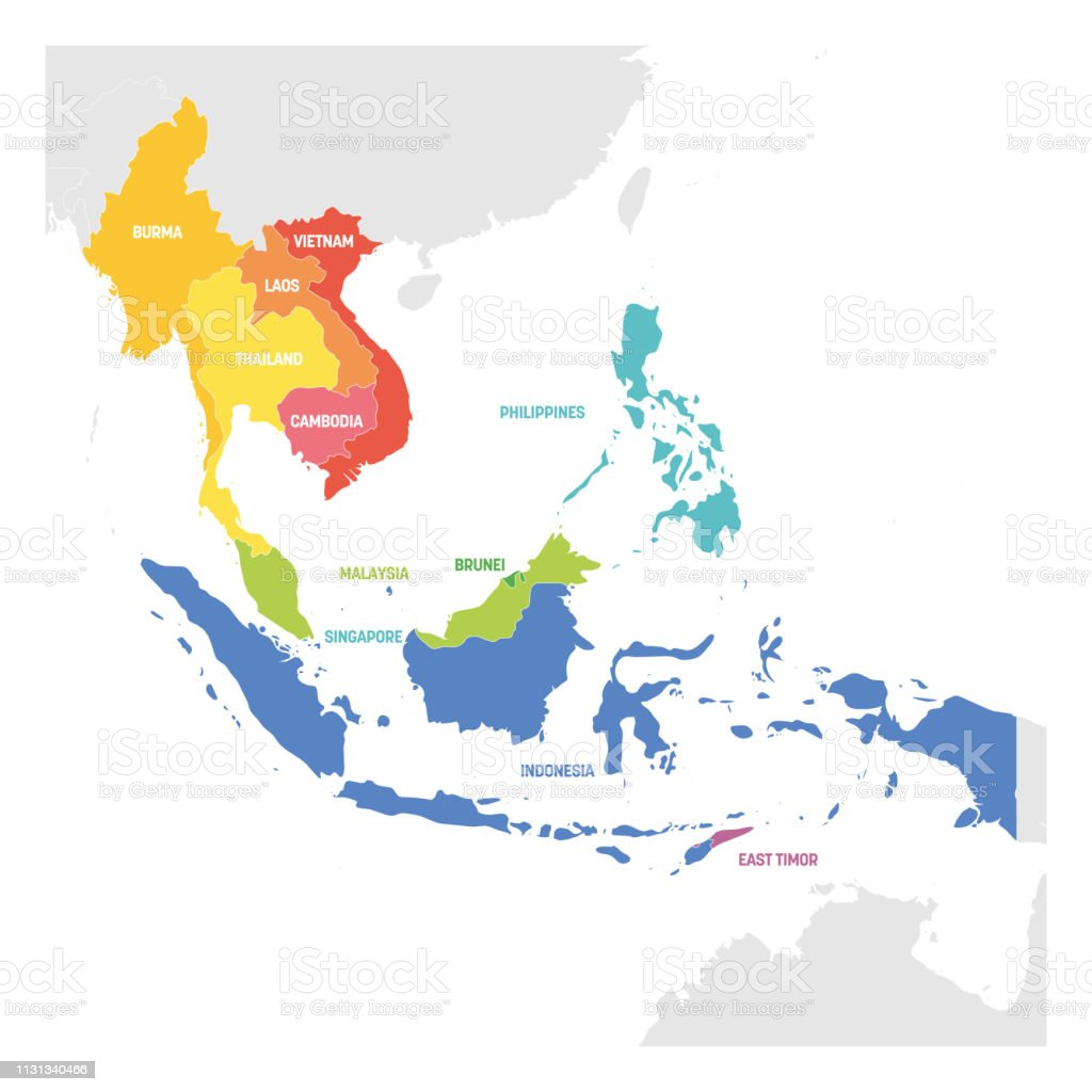 Carte Region Asie.Region Asie Du Sudest Carte Coloree Des Pays En Asie Du