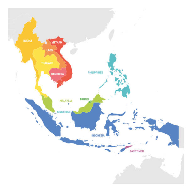 southeast asia region. colorful map of countries in southeastern asia. vector illustration - azja południowo wschodnia stock illustrations
