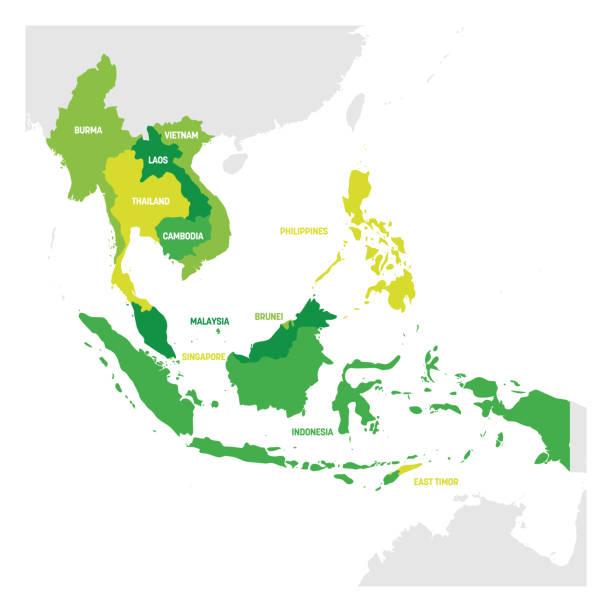stockillustraties, clipart, cartoons en iconen met regio zuidoost-azië. kaart van landen in zuidoost-azië. vector illustratie - zuidoost