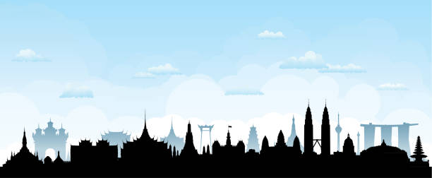 Southeast Asia Skyline Silhouette (All Buildings Are Detailed, Complete and Moveable) vector art illustration