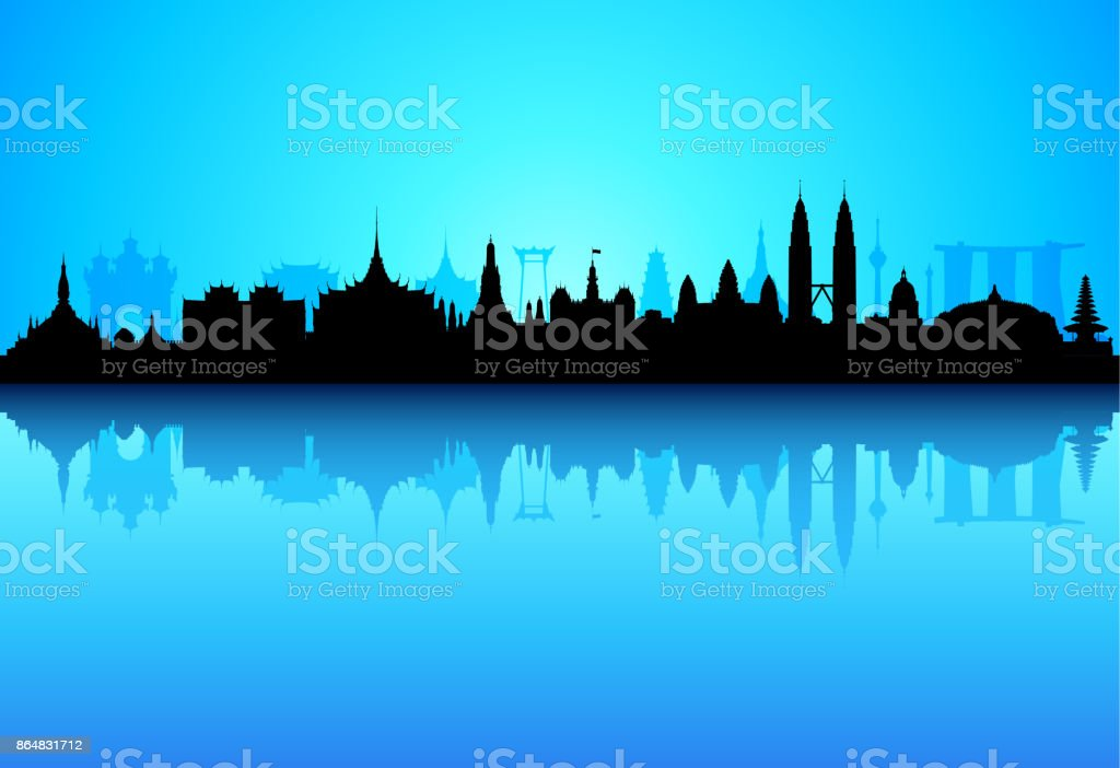 Southeast Asia (All Buildings Are Complete and Moveable) vector art illustration