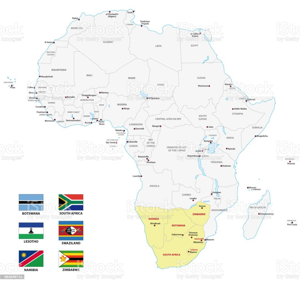 Map Of Africa Download.Southern Africa Map With Flags Stock Illustration Download Image Now