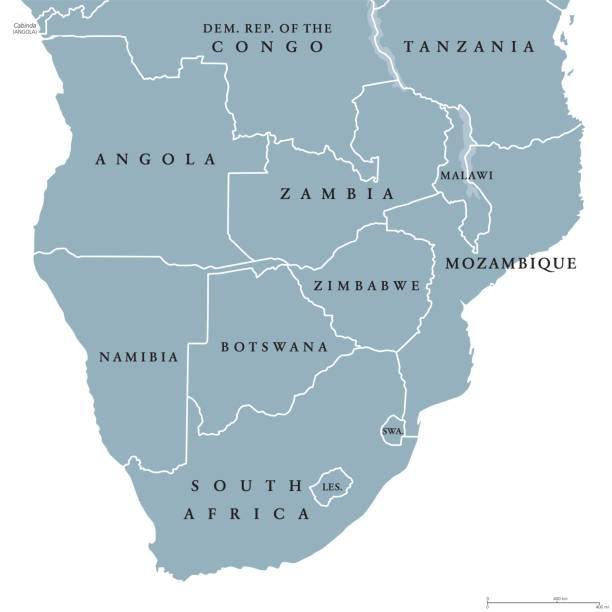 bildbanksillustrationer, clip art samt tecknat material och ikoner med södra afrika politiska karta - south africa