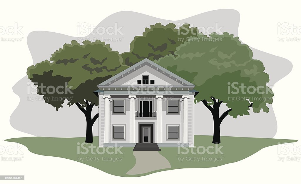 Southern Antebellum Home royalty-free stock vector art